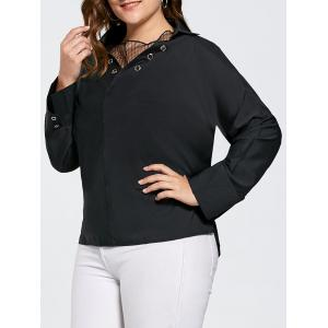 Plus Size Eyelet Long Sleeve Shirt with Sheer Voile - Black - 4xl