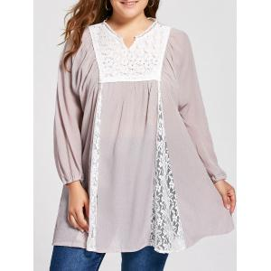 Notched Lace Panel Pleated Plus Size Peasant Top - Pale Pinkish Grey - 3xl