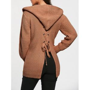 Lace Up Back Open Front Hooded Cardigan - Dun - One Size