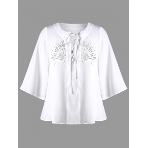 Plus Size Lace Up Openwork Blouse