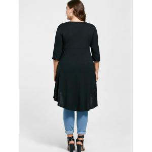 Plus Size Overlap Lace Up Top - BLACK 2XL