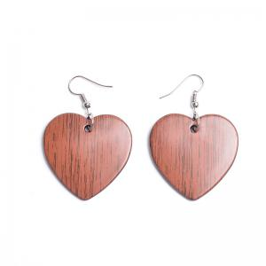 Vintage Heart Drop Hook Earrings - Red