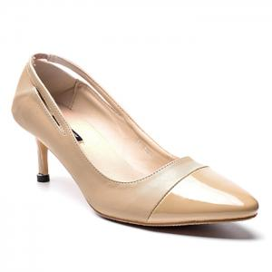 PU Leather Pointed Toe Kitten Heel Pumps - Apricot - 38