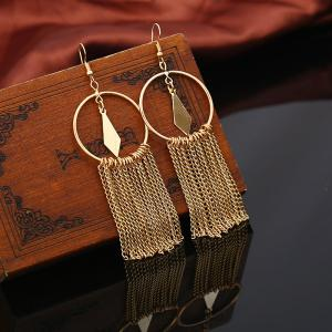 Geometric Round Fringed Chain Hook Earrings