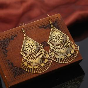 Statement Alloy Geometric Flower Hook Earrings