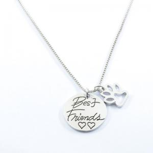 Best Friend Heart Footprint Claw Necklace - Silver