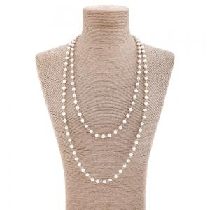 Artificial Pearl Statement Sweater Chain - Silver
