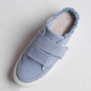 Fringe Trim Canvas Mules - BLUE 37