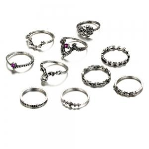 Rhinestone Statement Teardrop Finger Ring Set - Silver