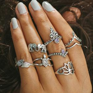Rhinestone Elephant Leaf Tortoise Finger Ring Set