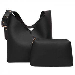 PU Leather Two Pieces Shoulder Bag Set - Black - 40