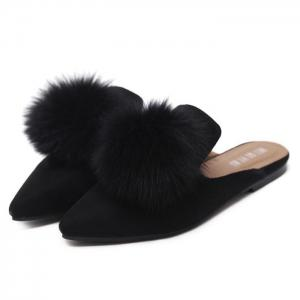 Pointed Toe Pompon Slippers - BLACK 37