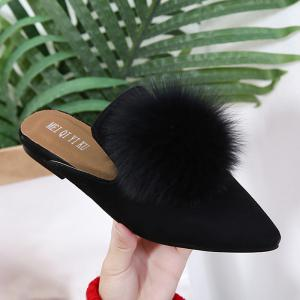Pointed Toe Pompon Slippers - BLACK 38