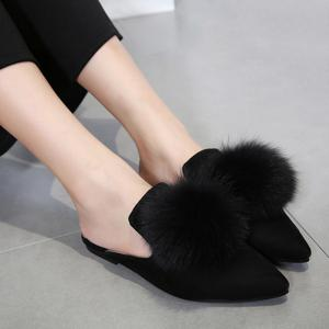 Pointed Toe Pompon Slippers - BLACK 40