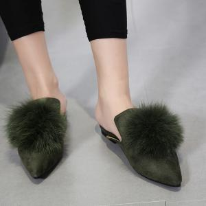 Pointed Toe Pompon Slippers - ARMY GREEN 40