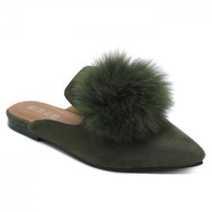 Pointed Toe Pompon Slippers - Army Green - 38