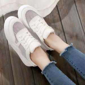 Round Toe Breathable Hollow Out Sneakers - WHITE 37