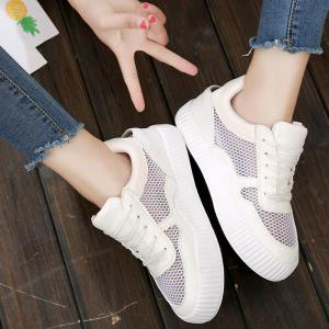 Round Toe Breathable Hollow Out Sneakers - WHITE 39