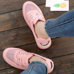Round Toe Breathable Hollow Out Sneakers - PINK 37
