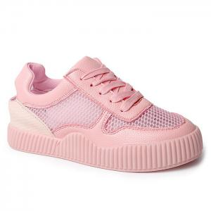 Round Toe Breathable Hollow Out Sneakers - Pink - 38