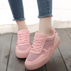 Round Toe Breathable Hollow Out Sneakers - PINK 38
