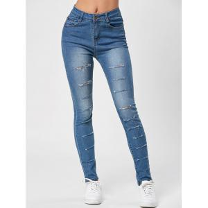 Distressed High Waisted Ripped Jeans - Blue - Xl