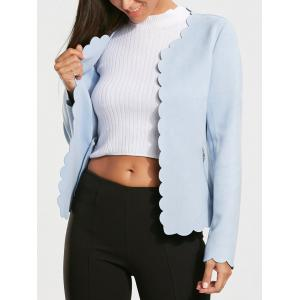 Open Front Short Scalloped Blazer Jacket