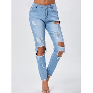 Distressed Frayed Hem Skinny Jeans