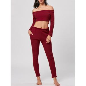 Ribbed Off Shoulder Two Piece Knit Set - Red - Xl