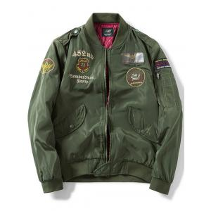 Zip Up Epaulet Design Patch Bomber Jacket - Army Green - Xl
