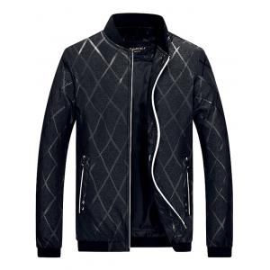 Zip Pocket Diamond Bomber Jacket