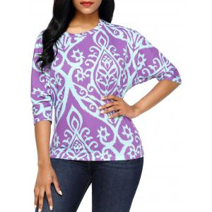 Half Sleeve Damask Print Top