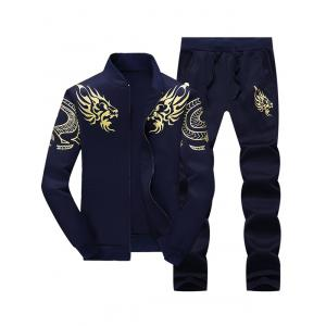 Dragon Totem Print Jacket and Sweatpants Suit