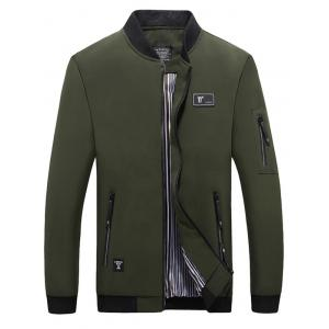 Casual Zip Pocket Bomber Jacket - Army Green - 2xl