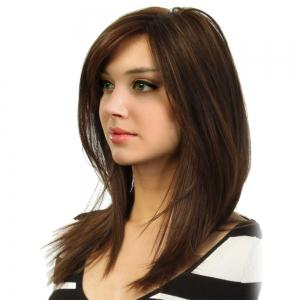 Medium Side Bang Shoulder Length Straight Colormix Synthetic Wig