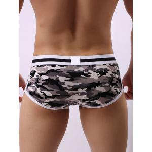 Convex Pouch Color Block Camouflage Trunk - GRAY M