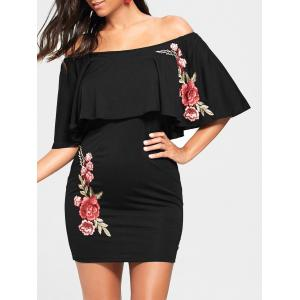 Flower Embroidery Off The Shoulder Bodycon Dress