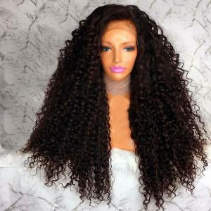 Long Free Part Afro Fluffy Curly Lace Front Synthetic Wig - Brown - 14inch