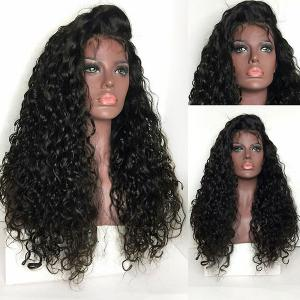 Long Free Part Shaggy Curly Lace Front Synthetic Wig - Black - 16inch