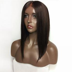 Middle Part Medium Straight Inverted Bob Lace Front Synthetic Wig - DEEP BROWN