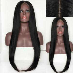 Center Parting Long Straight Lace Front Synthetic Wig - Black