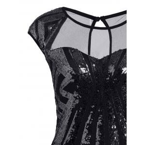 Mesh Panel Sequin Bodycon Club Dress - BLACK L