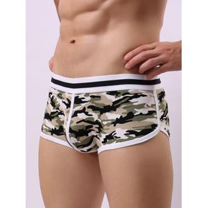 Convex Pouch Color Block Camouflage Trunk - GREEN S