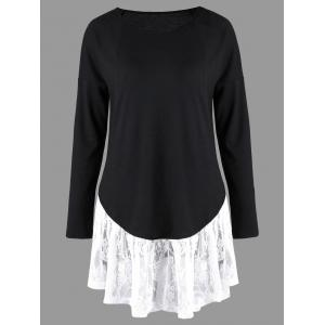 Long Sleeve Lace Trim Tunic Top