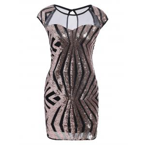 Mesh Panel Sequin Bodycon Club Dress