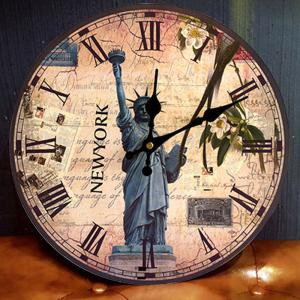 Statue of Liberty Round Wood Analog Wall Clock