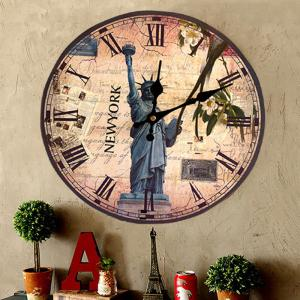 Statue of Liberty Round Wood Analog Wall Clock - ANTIQUE BROWN 30*30CM