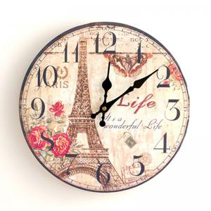 Eiffel Tower Wood Round Analog Wall Clock