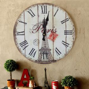 Eiffel Tower Wood Round Analog Wall Clock - WHITE 30*30CM
