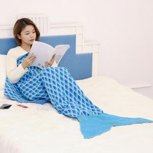 Knitted Peacock Pattern Mermaid Tail Blanket Throw